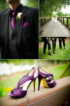 Groom wears black tuxedo, purple tie to match with bride's purple wedding shoes