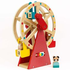 Dřevěné ruské kolo na kličku se 3 figurkami Petit collage Carnival Collage, Toddler Toys, Kids Toys, Children's Toys, Wooden Playset, Wood Animal, Non Toxic Paint, Big Wheel, Imaginative Play