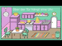 Deutsch lernen: In der Küche - Dativ + Präpositionen - German for children + beginners - YouTube
