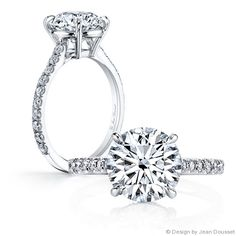 CATHERINE is a handcrafted, solitaire engagement ring shown with a Round Brilliant diamond in Platinum.