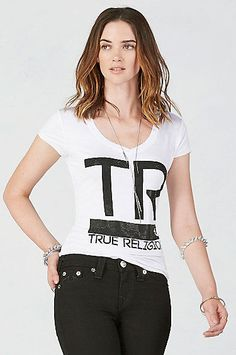 $75 TRUE RELIGION HAND PICKED TR BAR ROUNDED V NECK CRYSTAL TEE T SHIRT TOP XL #TrueReligion #GraphicTee