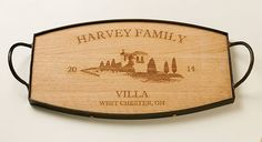 Villa Serving Tray with Heavy Galvanized Band, Shop our Beautiful & Unique Collection of Engraved Gifts at The Stationery Studio Engraved Gifts, Personalized Gifts, Stationery Store, Consumer Products, Villa, Christmas 2016, Band, Tray, Studio