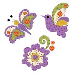 Preview bird  butterfly and flower polka dot purple
