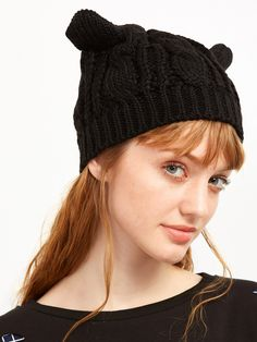9ac6ffeebf Shop Black Cat Ear Knit Hat online. SheIn offers Black Cat Ear Knit Hat &