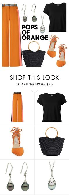 """Pops of Orange"" by littlehjewelry ❤ liked on Polyvore featuring Peter Pilotto, RE/DONE, Kristin Cavallari and Sensi Studio"