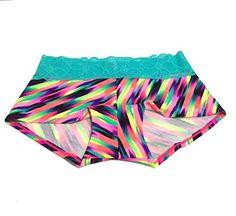 VICTORIAS SECRET PINK Tropical Lace Trim Boyshorts Panty Medium Multi Watercolor -- Click image for more details.