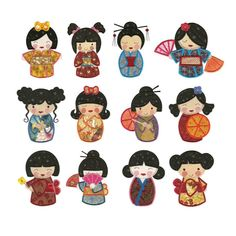 Kokeshi Japanese Applique Machine Embroidery Designs | Designs by JuJu
