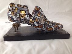 Shoe Stretcher, Wooden Shoe, Recycled Art, Mix Media, Fused Glass, Decoupage, Recycling, Purses, Boots