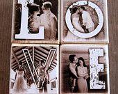 Items similar to Personalized Wooden Photo Blocks- LOVE xoxo HOME Mama PAPA- set of four letter blocks on Etsy Photo Letters, Personalized Photo Gifts, Photo Blocks, Wedding Scrapbook, Block Lettering, Vinyl Lettering, Mamas And Papas, Photo Craft, Recycled Art