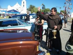 Blessing of the cars with Br. David.
