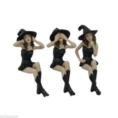 Sexy Witch Sisters See, Hear, Speak No Evil Witches Shelf Sitters Wiccan Pagan