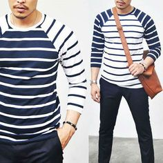 Tops :: Tees :: Cropped Contrast Raglan Stripe Tee-Tee 102 - Mens Fashion Clothing For An Attractive Guy Look Sharp Dressed Man, Well Dressed Men, Camisa Raglan, Raglan Tee, I Love Fashion, Mens Fashion, Mr Men, Nautical Fashion, Golf Outfit
