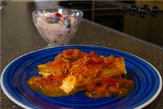 Tofu Manicotti with Fruit Basket Upset Salad recipes. Great tasting meal for your family. Eat Well, Eat Soy!