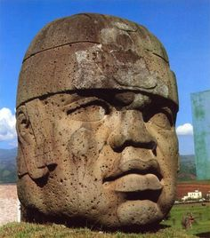 "7'5"" tall head, San Lorenzo, Olmec Culture, Mexico, 1200-900 BC."