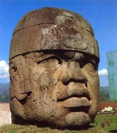 "7'5"" tall head, San Lorenzo, Olmec Culture, Mexico, 1200-900 BC."