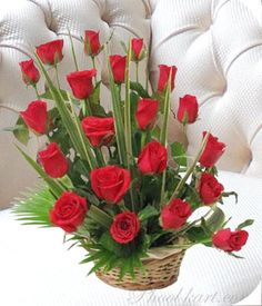 Standing Ovation to Love: Basket Arrangement of 20 Red Roses.   A showy arrangement of 20 pristine red roses presented in an unforgettable way. Show your love in a big way with this spectacular arrangement.  Price: $14 / Rs 675