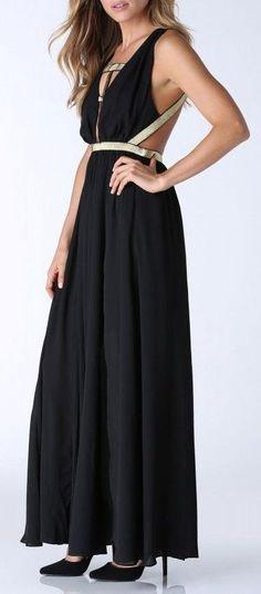Goddess Maxi Dress in Black