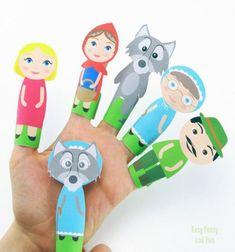 ❤ Nyomtatható Piroska és a farkas ujjbábok - egyszerű kreatív ötlet gyerekeknek ❤Mindy -  kreatív ötletek és dekorációk minden napra