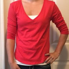 Victoria Secret  3/4 sleeve shirt NWT red 3/4 shirt. Size is extra small. Very soft material! Victoria's Secret Tops