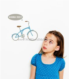 Wanna Ride Bike Wall Decals – WallDecalMall.com Modern Wall Decals, Bike, Bicycle, Cruiser Bicycle, Bicycles