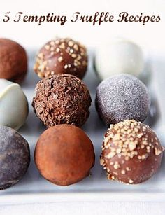 Candy truffles are always an elegant treat and to offer up some inspiration, here are 5 Tempting Truffle Recipes to share. Fudge, Candy Recipes, Sweet Recipes, Dessert Recipes, Just Desserts, Delicious Desserts, Yummy Food, Yummy Treats, Sweet Treats