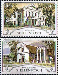 South Africa 1979 Stellenbosch Set Fine Mint SG 471 2 Scott 529 30 Condition Fine MNH Only one post charge applied Union Of South Africa, Letter Boxes, Rare Stamps, Interesting Buildings, Beaches In The World, Most Beautiful Beaches, Cloud 9, African History, Stamp Collecting