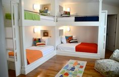 Beach style kids' bedroom with twin bunk beds