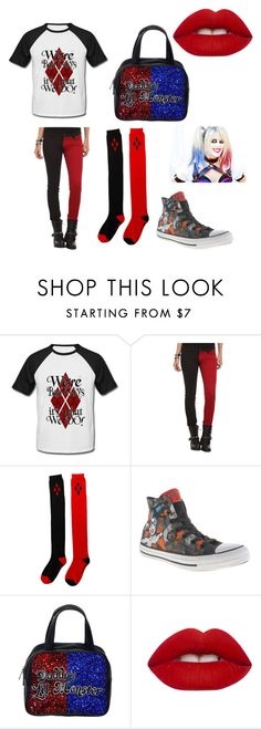 """""""Harley Quinn"""" by kaytlynhunter ❤ liked on Polyvore featuring interior, interiors, interior design, home, home decor, interior decorating, Tripp, Converse and Lime Crime"""