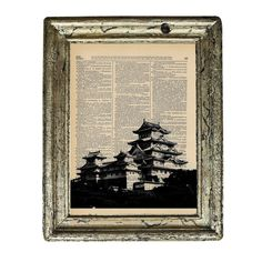 Traditional Japanese Palace in Black and White on an by AvantPrint, $7.00