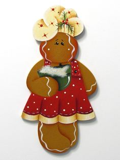Gingerbread Girl Chef Ornament, Handpainted Wood. $6,50, via Etsy.