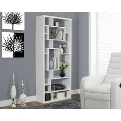 Monarch Specialties White Modular Bookcase at Lowe's. Give your home a bold, modern look with this unique white bookcase. This chic, backless unit features 14 asymmetrical shelves in various sizes, Wooden Room Dividers, Sliding Room Dividers, Contemporary Bookcase, Modern Bookshelf, Glass Room Divider, Decoration Ikea, Sala Grande, Table Cafe, Standing Shelves