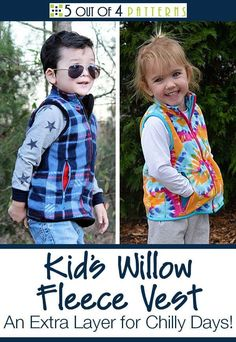 Our kid's Willow Fleece Vest pattern is the best extra layer for chilly days no matter the season! Stylish and warm, this perfect transitional piece also comes in a matching mommy and daddy version. The perfect spring layer! Boys Sewing Patterns, Fleece Patterns, Sewing For Kids, Sewing Ideas, Crochet Patterns, Fall Sewing, Sewing Baby Clothes, How To Make Clothes, Making Clothes