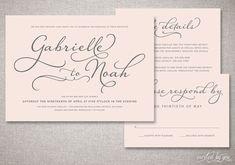 Beautiful Script Wedding Invitations Suite - Romantic Handwritten Style Calligraphy - Custom DIY Digital Printable or Printed Invite.