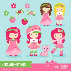 STRAWBERRY GIRL  Digital Clipart   STRAWBERRY Clipart by grafos, $5.00