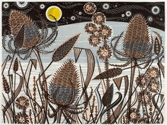 Angie Lewin - Lakeside Teasels - linocut print Image size: 420mm x 320mm