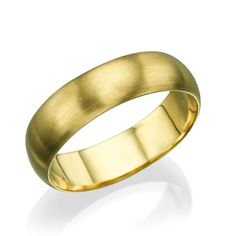Solid Yellow Gold Wedding Bands for Him - 5.6mm Rounded Brushed Matte Rings