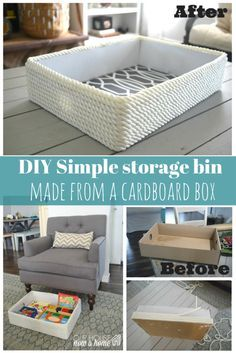 Don't throw away that cardboard box! Turn it into a cute and functional storage bin. Using rope, and peel and stick paper this becomes the cutest storage bin to have around the house. Hide toys in it, out of sight in the living room or use it as a decorative accent.