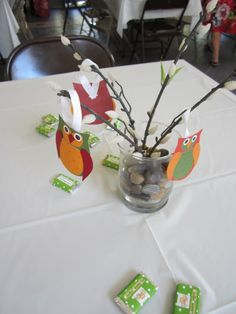 owl themed baby shower: centerpiece idea