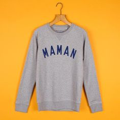 Grey & Navy MAMAN 'Boyfriend' Sweatshirt – Selfish Mother