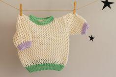 Baby Girl Sweater Handknit Baby Blouse Spring Girl por LalaKa