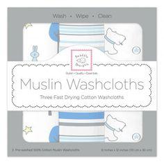 SwaddleDesigns Cotton Muslin Bibs Set of 3 Blue Forest
