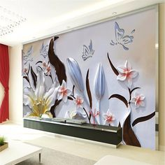Beibehang Modern murals floral background embossed lily 3d living room bedroom wall murals Beibehang wallpaper for walls 3 d