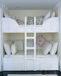 I saw this on HGTV in Cynthia Rowley's home for her two little girls. She painted it herself. Love this especially for small spaces! @Brenda Mauney from HGTV.com