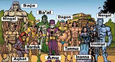 Mesopotamian Gods: Ningal - God of reeds. Saja - God of messengers. Aqhat - God of storms. Marduck - The chief god. Ba'al - God of the rain, thunder, fertility and agriculture, and the lord of Heaven. Anu - The sky god and god of the heavens. Dagon - God of fertility. Tammuz - God of food and vegetation. Inanna - Goddess of love, fertility, and warfare. Ereshkigal - The goddess of Irkalla, the land of the dead or underworld. Nergal - God of destruction.