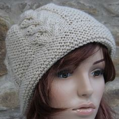 Hand Knit Cable Panel Alpaca Mix Hat in by KnitKnacksbySharon