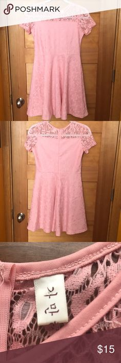 Short sleeve pastel pink lace dress Cute short sleeve pastel pink lace dress: size xs. The dress falls right above the knee for me, and I'm 5'4. From some random seller at amazon, but good quality for the price. Only worn twice, and in good as new condition. Feel free to comment questions or ask for any more pictures. I accept offers! Dresses Mini