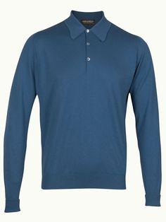 John Smedley Finchley Long Sleeve Polo Shirt - Marine - Available to buy at http://www.afarleycountryattire.co.uk/product-tag/john-smedley-finchley-long-sleeve-polo-shirt/ #johnsmedley #mensfashion #poloshirt #afarleycountryattire