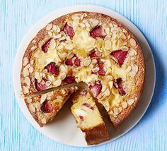 This easy summer bake made by adding dots of cheesecake mix to almond sponge along with chunks of fruit is a guaranteed crowd-pleaser