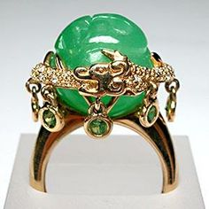 Estate Fine Jewelry Carved Jade Orb Peridot & Diamond Dragon Cocktail Ring Solid 14K Gold