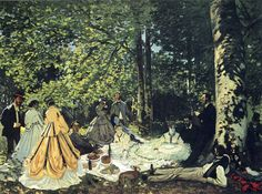 Lunch on the Grass (study), 1865 by Claude Monet. Impressionism. genre painting